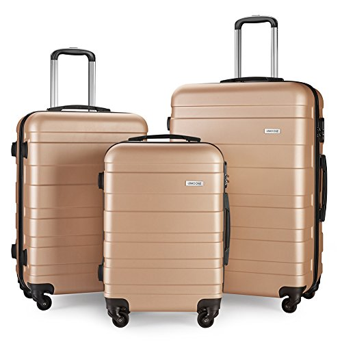 Luggage Set Spinner Hard Shell Suitcase Lightweight Carry On - 3 Piece (20'' 24'' 28'') (champagne4) by LEMOONE