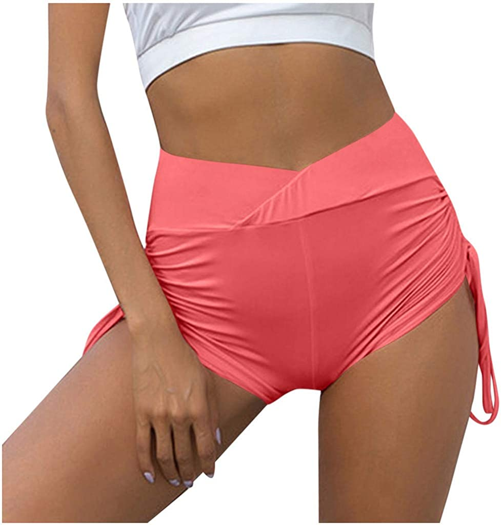 Hessimy Womens Sport Fitness Gym Stretchy High Waisted Ruched Butt Lifting Workout Running Yoga Shorts