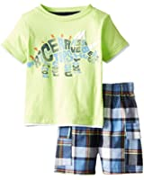 Kids Headquarters Baby Boys' Green Tee with Plaid Shorts
