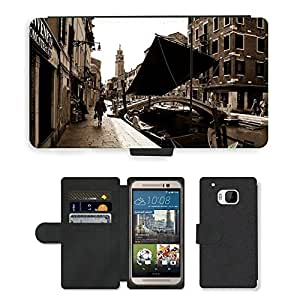 Hot Style Cell Phone Card Slot PU Leather Wallet Case // M00171046 Venice Canal Boat Vintage Sepia // HTC One M9