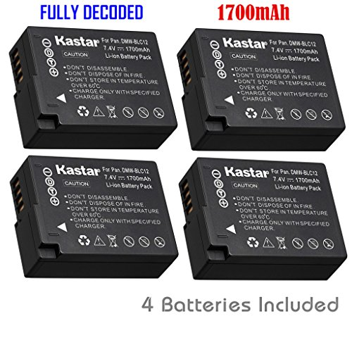 Kastar Battery (4-Pack) for Panasonic DMW-BLC12, DMW-BLC12E, DMW-BLC12PP and DE-A79 work with Panasonic Lumix DMC-FZ200, DMC-FZ1000, DMC-G5, DMC-G6, DMC-GH2 Cameras (Lumix Fz200 Best Price)