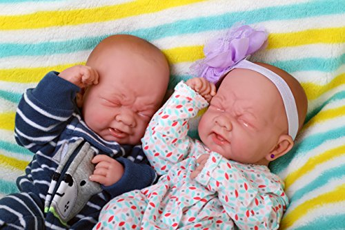"""Realistic Reborn Baby Twins boy and Girl Preemie with Beautiful Accessories Anatomically Correct Washable Berenguer 14"""" Real Soft Vinyl Lifelike Pacifier Doll Super Combo Price"""