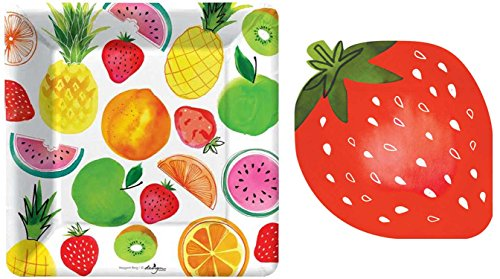 Fruit Napkins - Strawberry Fruit Salad Plates and Napkins by Design Design