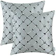 Pack of 2 CaliTime Cushion Covers Throw Pillow Cases Shells for Home Sofa Couch 18 X 18 Inches, Modern Diamonds Shape Geometric Chain Embroidered, Gray