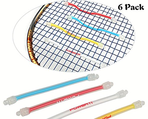 (MiniXX Tennis Vibration Dampener-Pack of 6-Shock Absorber For Strings,Premium-Durable & Long-Lasting(PT 2016 Strip) (Red,Yellow&Blue, 6pcs))