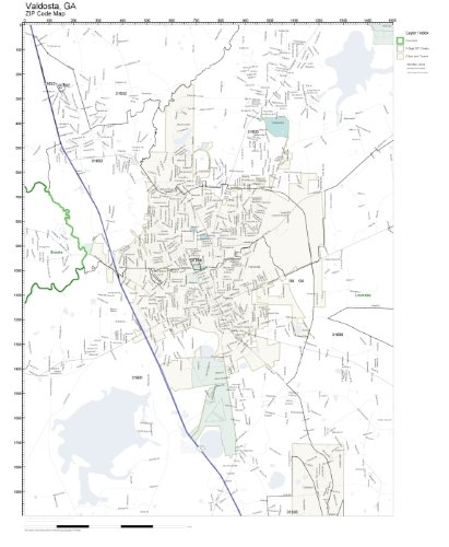 Amazon.com: ZIP Code Wall Map of Valdosta, GA ZIP Code Map