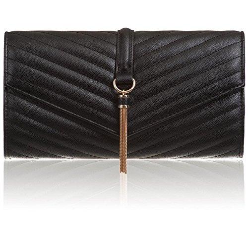 cuir simili Pochette Xardi London vintage en avec Noir gland décoratif qtPwPFnE