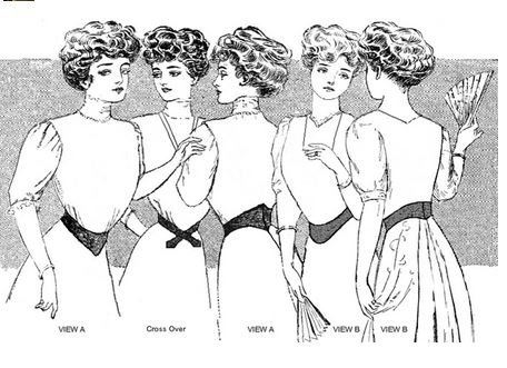 Edwardian Gloves, Handbag, Hair Combs, Wigs 1901-1909 Edwardian Dip-Waist Belts Pattern $12.95 AT vintagedancer.com