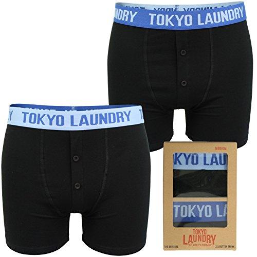 Uomo in confezione da 2 Boxed Boxer da Tokyo lavanderia 'Helston' (Sky Blue Blue) S