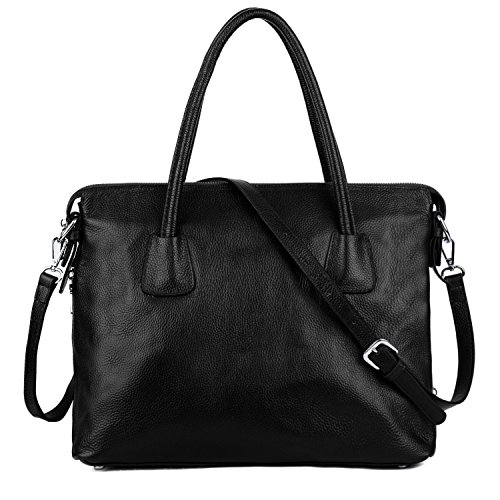 YALUXE Women's Leather Work Tote Shoulder Bag with Phone Pocket (Upgraded 2.0) (Designer Pocket)