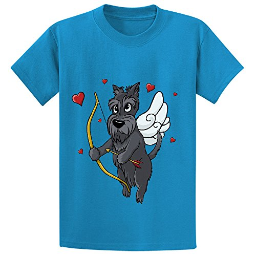 Likeu Cupid Scottish Terrier Teen Personalized Crew Neck Tee Blue (Scottish Terrier Dog Names)