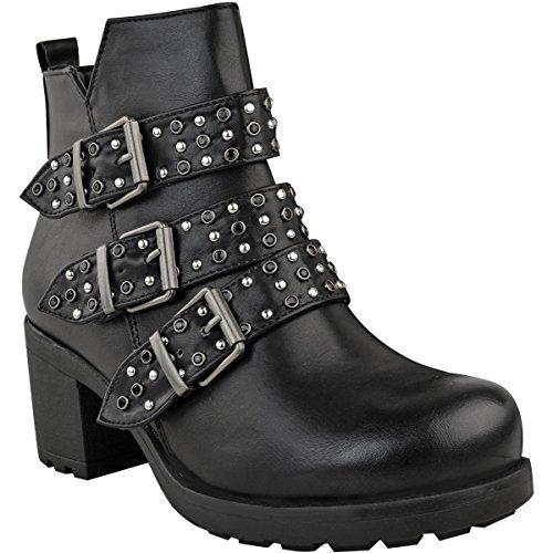 Mujer Botines tachuelas Tiras Vaquero Hebilla Tacón Bajo Zapatos Talla - Negro Piel Sintética/Gema/tachuelas, 37: Amazon.es: Zapatos y complementos