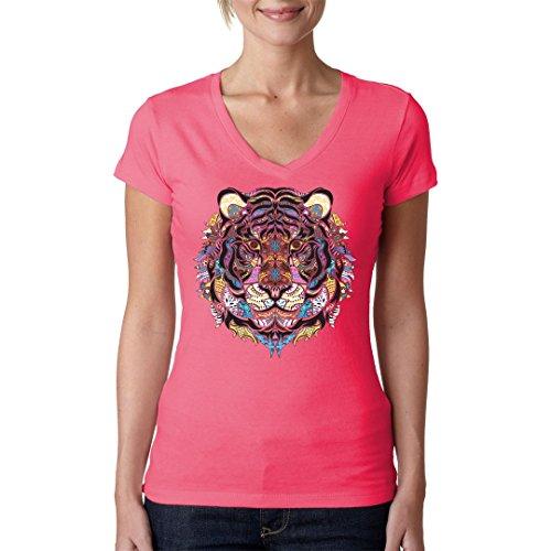 Girlie V-Neck Shirt - Neon Mosaik Tiger by Im-Shirt Light-Pink