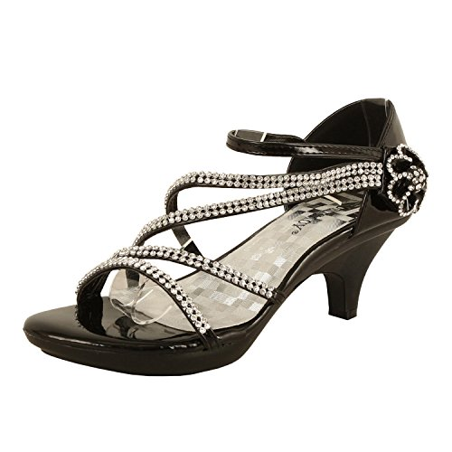 Delicacy Womens Strappy Rhinestone Dress Sandal Low Heel Shoes Heeled Sandals, 48Black, 7.5