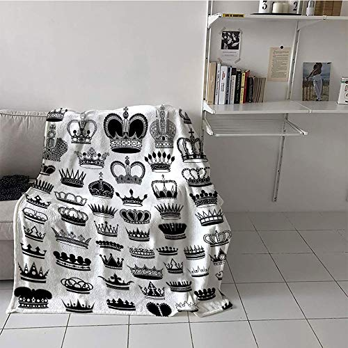 Khaki home Children's Blanket Summer Print Summer Quilt Comforter (50 by 70 Inch,Queen,Big Silhouette Crown Set Monarchy Imperial Ruler Icons Antique Ancient Vintage,Black and White