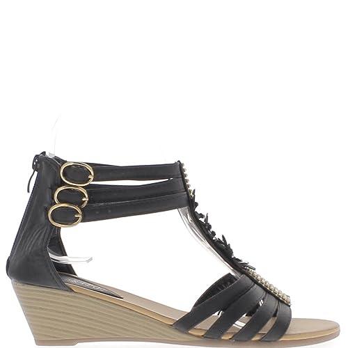 Sandales compensées noires petit talon de 5cm et strass fines brides guAV7