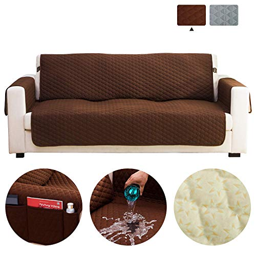 "Haowaner 100% Waterproof Loveseat Cover Sofa Cover, Quilted Couch Cover with Anti-Slip Foams, Sofa Slipcover for Dogs Furniture Protector, Machine Washable Sofa Protector Seat Width Up to 54"" Brown"