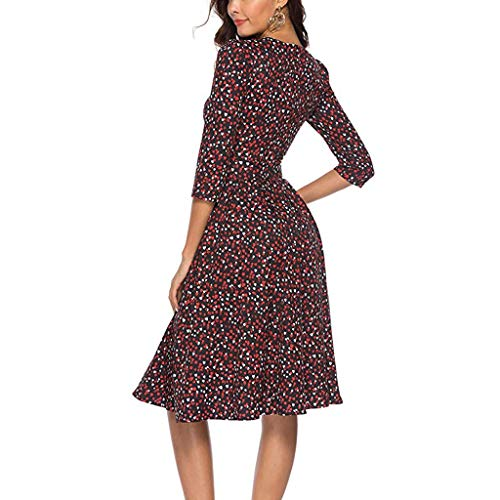 Women's Love Floral Fashion Casual Mini Skirt Women's Floral Cropped Sleeve Vintage Dress Evening Dress Red by Lloopyting (Image #3)