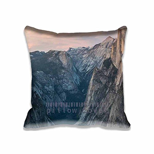 Yosemite Fruit (Home Square Cotton Polyester Cushion Covers Glacier Point At Sunset Yosemite Mountain Decorative Pillow Cases with Hidden Zippered Custom Throw Pillow Cover for Sofa Couch Bed 16X16inch)