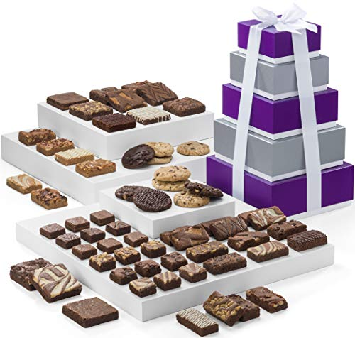 Fairytale Brownies 5-Box Tower Gourmet Chocolate Food Gift Basket - Assorted Size Brownies Plus Blondie Bars and Cookies - 62 Pieces - Item RF305