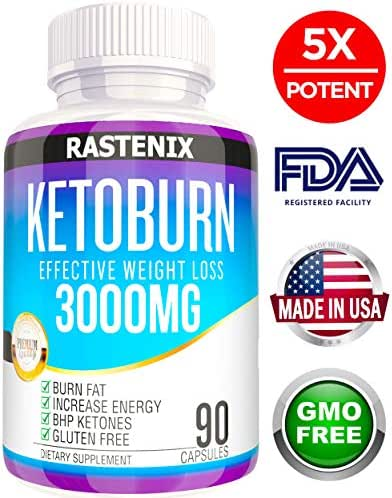 Rastenix Best Keto Pills - 3X Potent (3000mg | 90 Capsules) - Weight Loss Keto Burn Diet Pills - Boost Energy and Metabolism - Exogenous Keto BHB Supplement for Women and Men - 90 Capsules