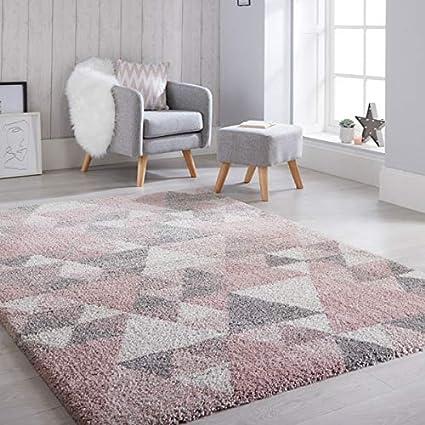 Flair Rugs Dakari Nuru - Alfombra (120 x 170 cm), diseño geométrico, color rosa y crema: Amazon.es: Hogar