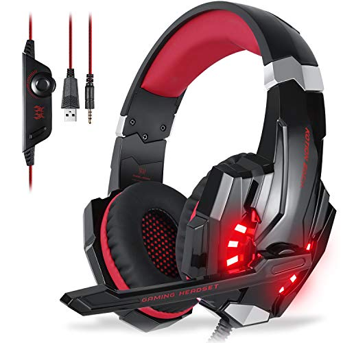 EasySMX KOTION Each G9000 Stereo Gaming Headset with Mic LED Lighting Noise Cancellation and in-line Controller Compatible with PS4 Mobile Phones Laptop Tablet and Computer (Black and Red)