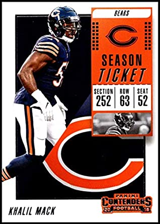 71ce2ab61 Amazon.com: 2018 Panini Contenders Season Tickets #24 Khalil Mack NM-MT  Chicago Bears Official NFL Football Card: Collectibles & Fine Art