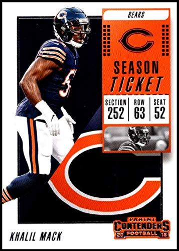 - 2018 Panini Contenders Season Tickets #24 Khalil Mack Chicago Bears NFL Football Trading Card