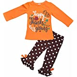 "Unique Baby Girls 2 Piece ""Happy Thanksgiving"" Orange and Brown Fall Outfit"