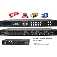 4x8 4x4 HDbaseT 4K HDMI Matrix Switcher w/ 4 PoC Receivers (CAT5e or CAT6). HDCP2.2 HDTV Routing Selector SPDIF Audio Control4 Savant Home Automation