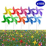 Tsocent 10 Mixed Colors Pinwheels (Pack of 100) - Outdoor Decorational Pinwheels Wind Spinners for Yard and Garden - 100 Pcs Party Favors Pinwheels Windmill Educational Gifts for Kids