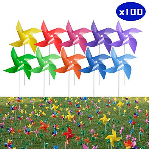 (Tsocent 10 Mixed Colors Pinwheels (Pack of 100) - Outdoor Decorational Pinwheels Wind Spinners for Yard and Garden - 100 Pcs Party Favors Pinwheels Windmill Educational Gifts for Kids)