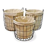 Round Steel Utility Baskets with Cloth Liner - Set of 3