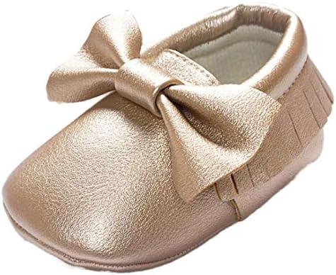 Zapatos de bebé Sonnena cuna borlas Lazo Zapatos de bebé Zapatillas Casual antideslizante zapatos, 0 – 18 meses 0~6M dorado