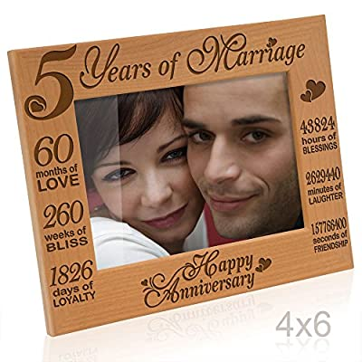 Kate Posh - 5 Years of Marriage Photo Frame - 5th Anniversary Gift Wood - Engraved Natural Solid Wood Picture Frame