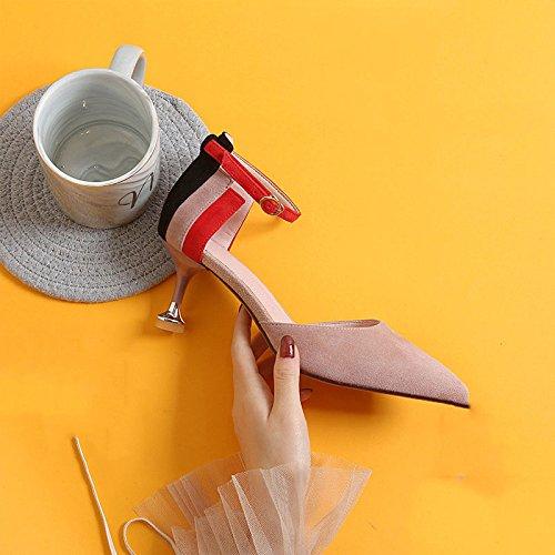 Colorblocked pink Talons DKFJKI Chat Talons Hauts Coeurs Boucles Cuir Mode Pêche de Sandales Sauvage de pqwwc6H5T