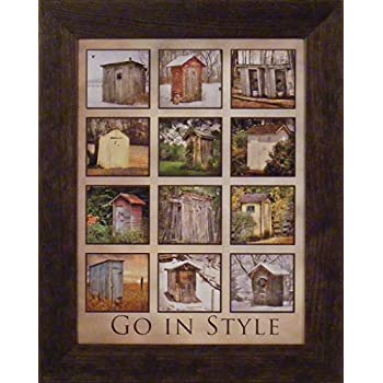 go in style by lori deiter 16x20 outhouse collage photo bathroom dcor framed art print picture