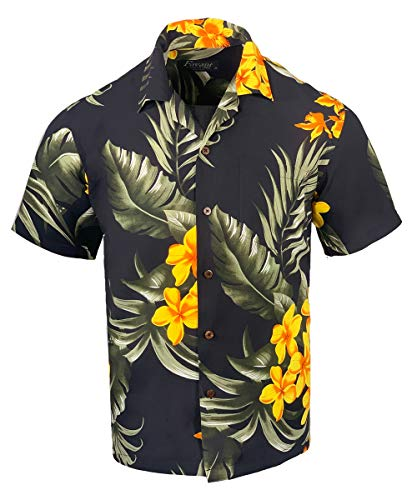 Men's Hawaiian Aloha Tropical Luau Beach Floral Print Shirt (Large, Black/Yellow)