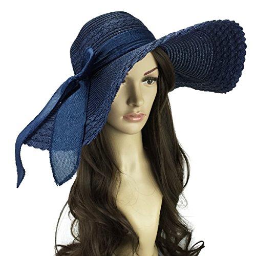 Funnywe Fashion Straw Derby Cap Womens Flax Bow Wide Large Brim Summer Beach Sun Hat