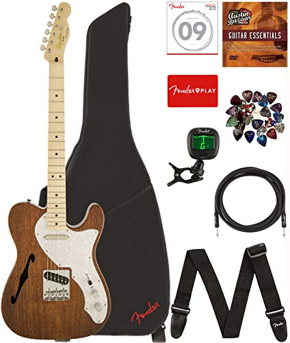 Fender Squier Classic Vibe Telecaster Thinline - Natural Bundle with Gig Bag, Tuner, Strap, Picks, Strings, Instrument Cable, and Austin Bazaar Instructional - Telecaster Thinline