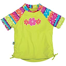 Sun Smarties Baby-Girl UPF 50+ Short Sleeve Rainbow Rash Guard 18M Pink Lime