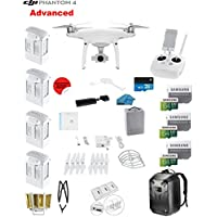 DJI Phantom 4 ADVANCED Quadcopter Drone with 1-inch 20MP 4K Camera KIT + 4 Total DJI Batteries + 3 64GB Micro SDXC Cards + Card Reader 3.0 + Prop Guards + Range Extender + Charging Hub + Backpack