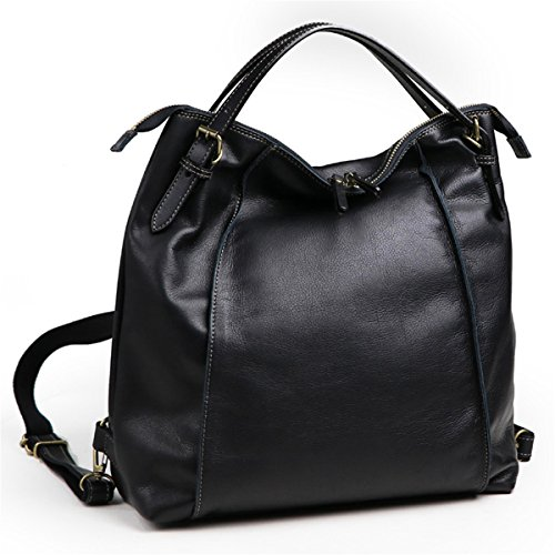 Price comparison product image Brenice Cowhide Tote Handbags Vintage Multifuntion Backpack Shoulder Bags Black 15.16''x 3.35''x 14.17''(LxWXH)