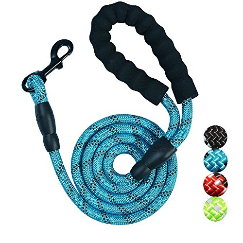 Cool Dog Stripe (Bolux 5ft Strong Rope Leash Highly Reflective Threads Comfortable Padded Handle, Heavy Duty Training Durable Nylon Dog Leash Medium Large Dogs (Blue))
