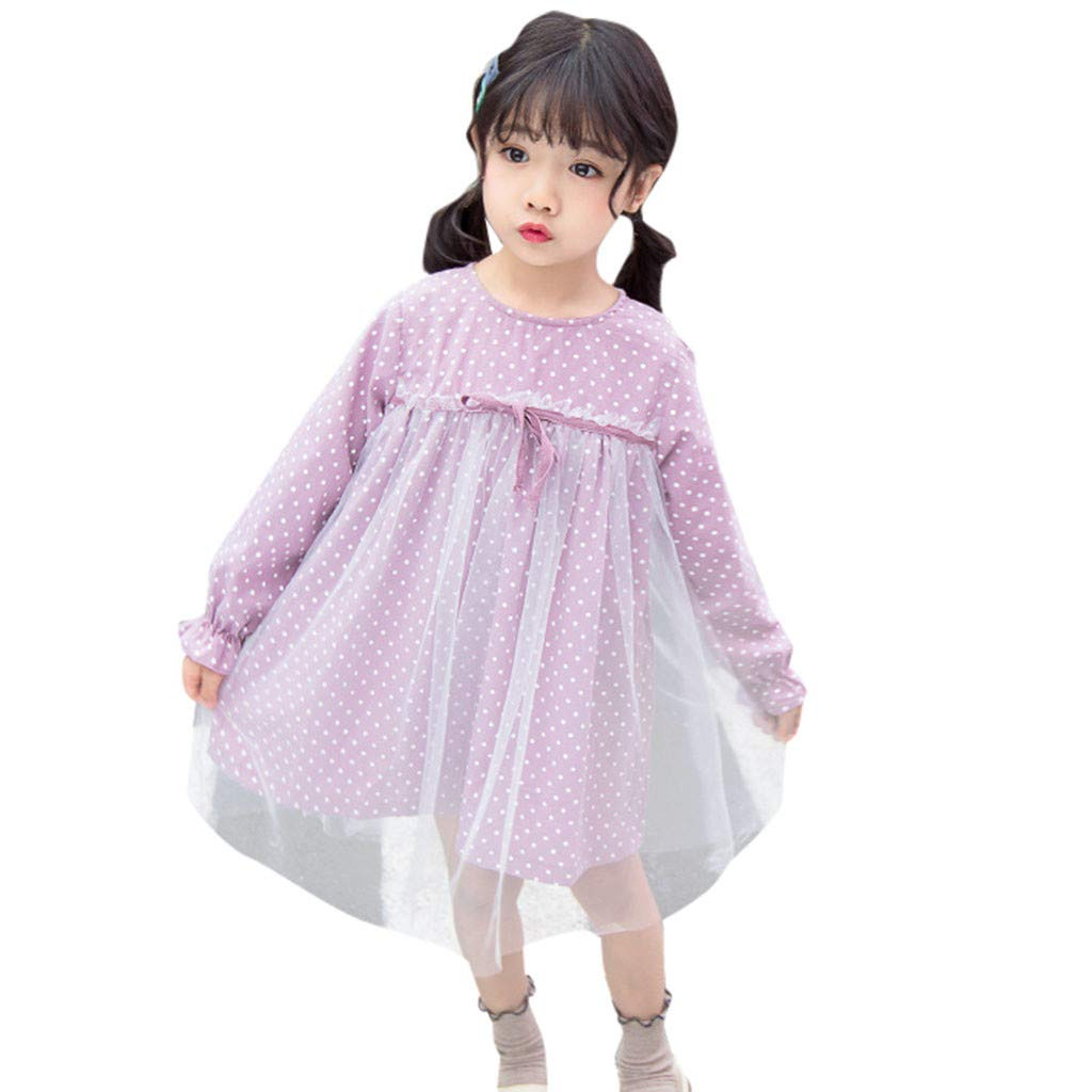 KaiCran Girls Korean Style Long Sleeve Bow Polka Dot Sweet Cute Dress Splicing Mesh