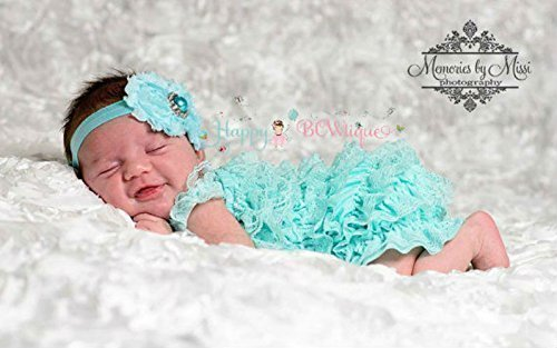 94837eb210a2 2pcs Baby Aqua Lace Petti Romper Set w Extra Headband
