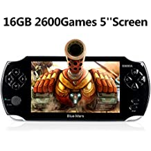 """Blue Mars Handheld Game Console, 16GB 5"""" Screen 2600 Classic Games,Portable Video Game Console, Support/GBA/GBC/NES/BIN/SMC, Birthday and Holiday Best Gift for Kids-Black"""
