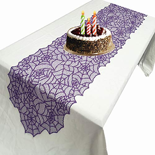 atimier Halloween Decoration Purple Spider Web - Perfect for Halloween, Dinner Parties