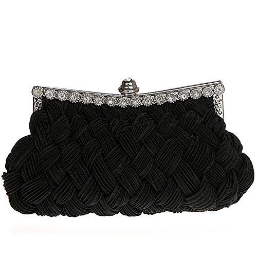 Belsen Women's Wedding Knit Style Evening Clutch Bags (Black)